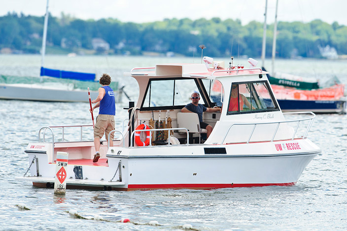 Crew members of the UW–Madison Lifesaving Station are seen aboard the Harvey C. Black rescue boat on Lake Mendota.