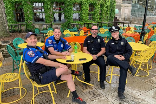 University Police stop for a discussion at the Memorial Union Terrace.