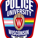 The UWPD logo with an added transgender band to the left of the crest and rainbow band to the right.