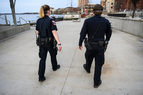 UWPD officers patrol the Memorial Union Terrace.