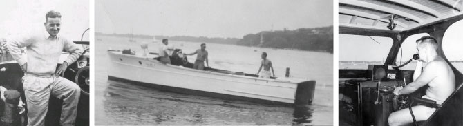 Three black and white photos showing former lifesaving employees and their boats.