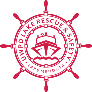 Lake rescue logo, featuring the lake rescue boat inside a ship's wheel and the text UWPD Lake Rescue & Safety, Lake Mendota