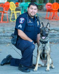 Officer Nic Banuelos with K9 Maya