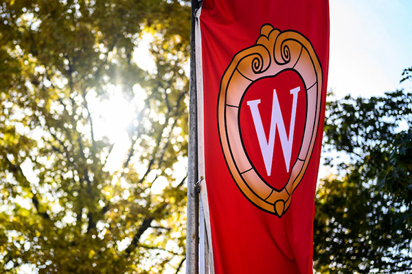 A W crest banner flutters in the wind on Bascom Hill.