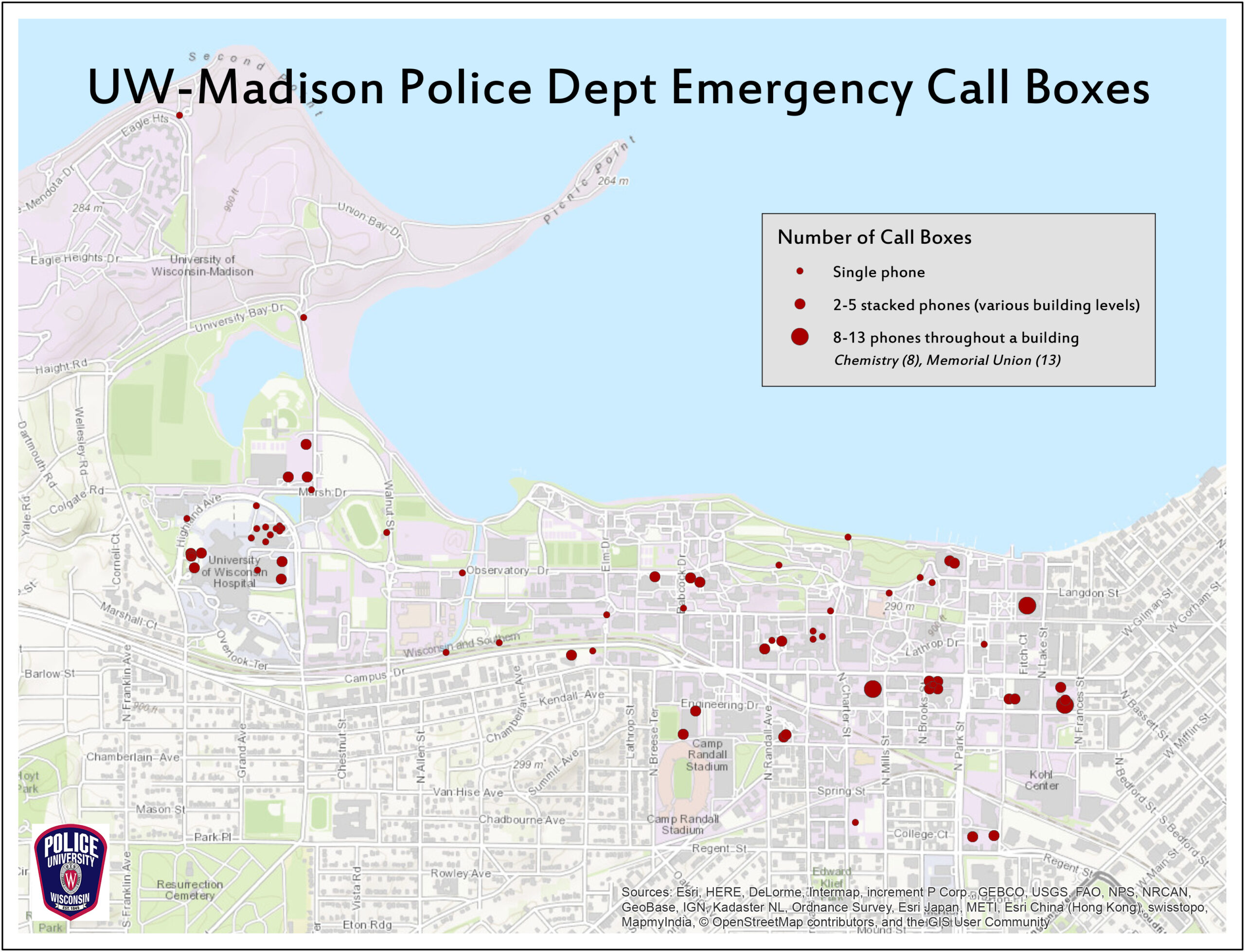map of emergency call boxes on campus