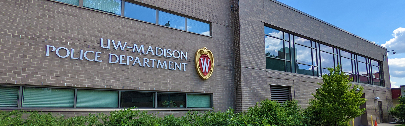 A photo of the main headquarters of the UW-Madison Police Department on Monroe Street.